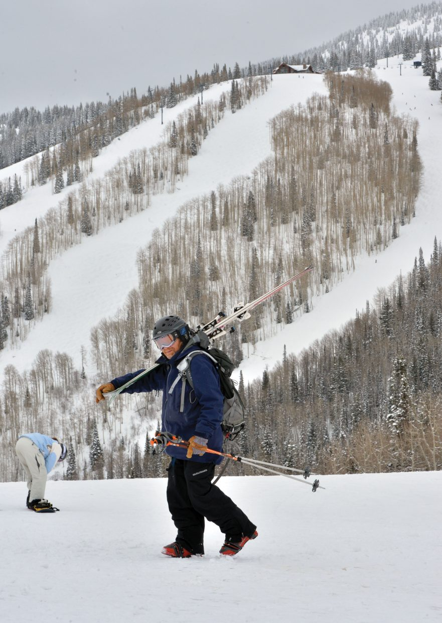 Steamboat Springs skier Fran Madden heads toward the Thunderhead Lodge after taking a few runs at Steamboat Ski Area Monday morning.