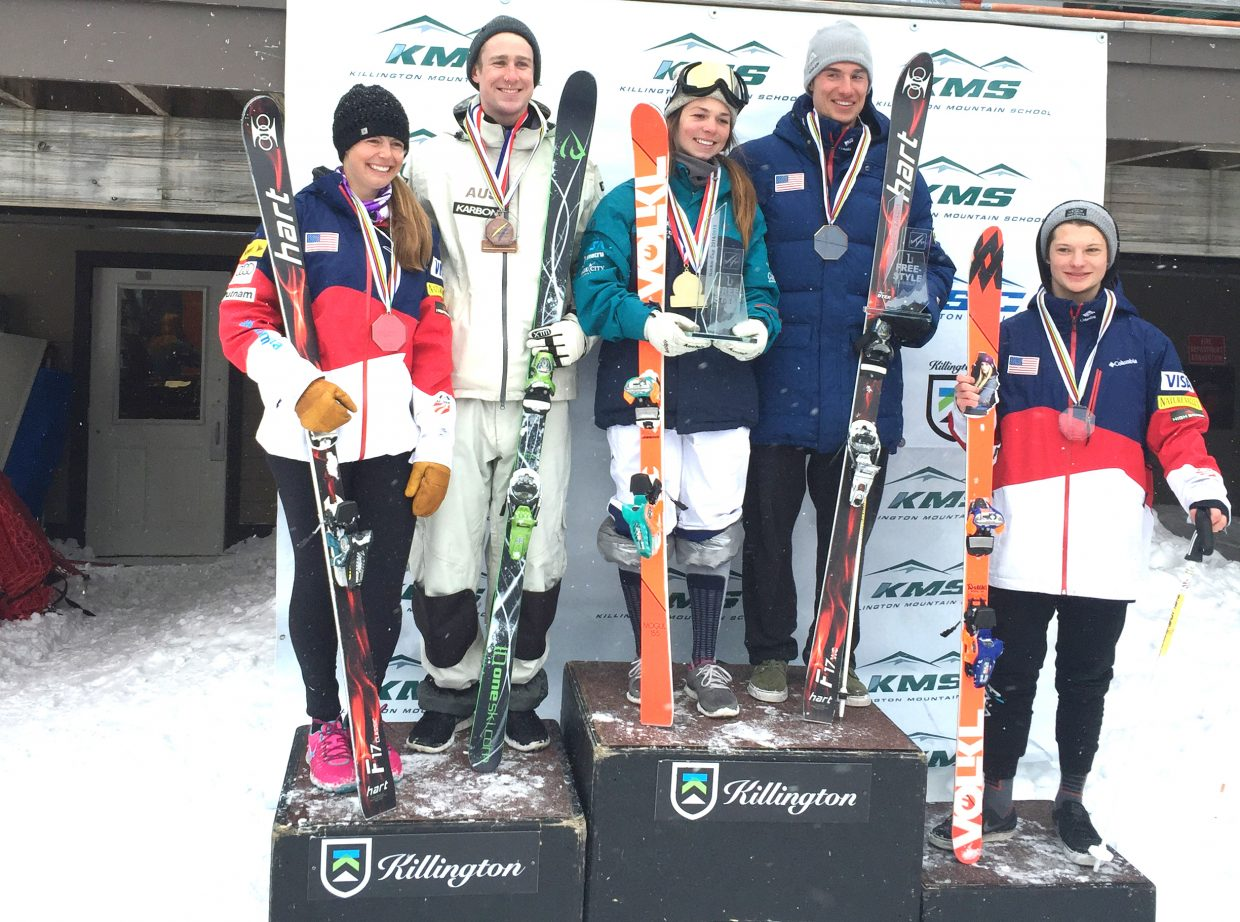 Steamboat Springs freestyle skiers Lane Stoltzner, left, and Ryan Dyer, fourth from left, stand on the NorAm Moguls Grand Prix podium in Killington, Vermont, Sunday. Stoltzner finished second in the season-long standings, while Dyer won.