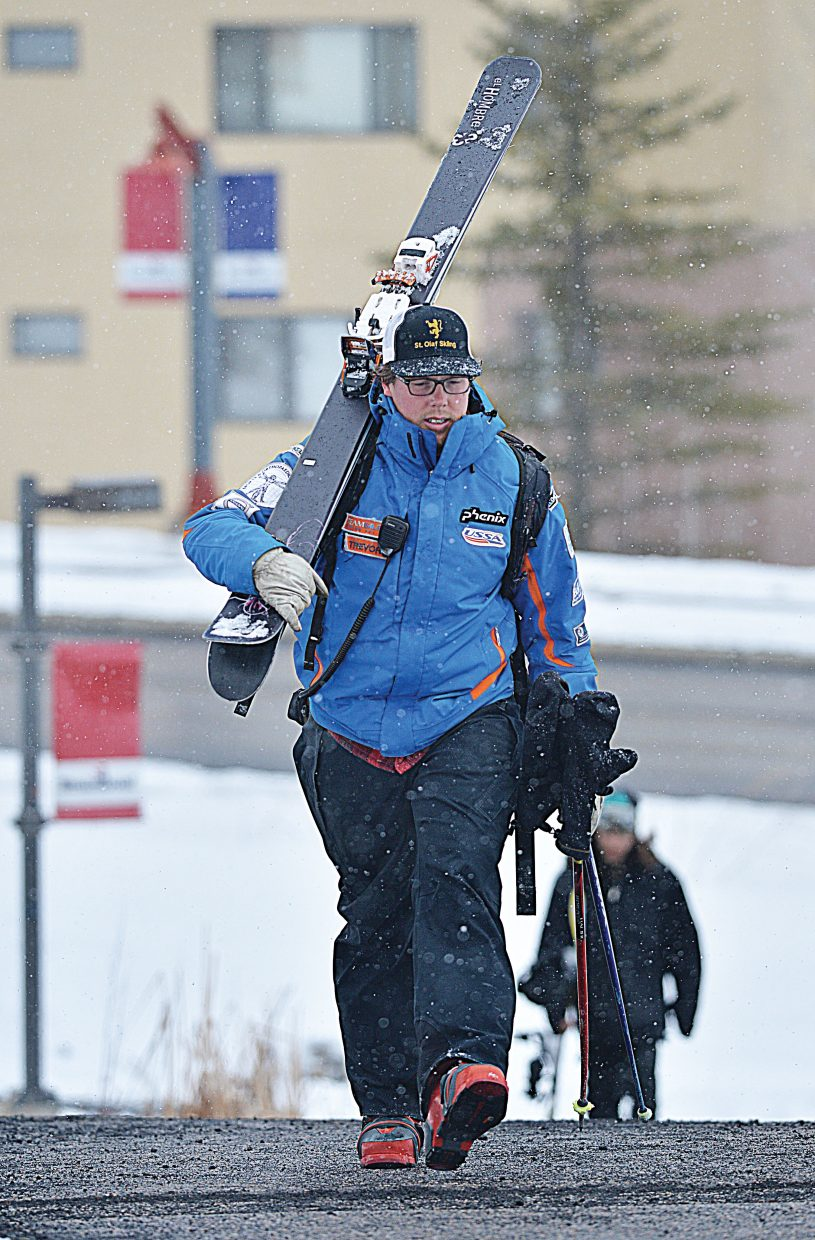 Ski coach Trevor Davis heads to his car after working the U16 Junior Championships at Steamboat Ski Area. The championships opened Tuesday with the downhill race, which was held on Vagabond.