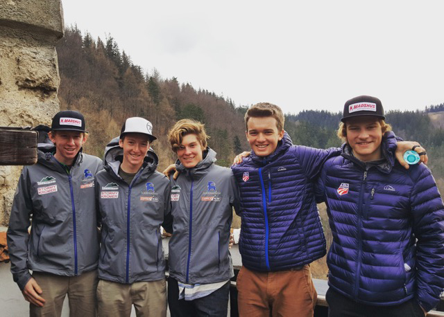 Jared Shumate, left, Stephen Schumann, Koby Vargas, Jasper Good and Ben Loomis, competed in Nordic combined for the United States at the World Junior Skiing Championships in Romania.