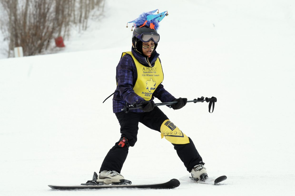 Sunshine Kid Aleeah Murkey, from Washington, D.C., works on her turns Friday afternoon at the Bashor Bowl.