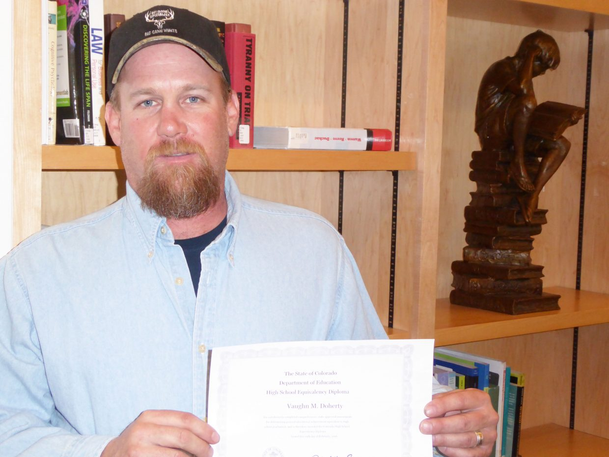 Vaughn Doherty earned his GED at Colorado Northwestern Community College in February, with a college-ready performance score on his test.