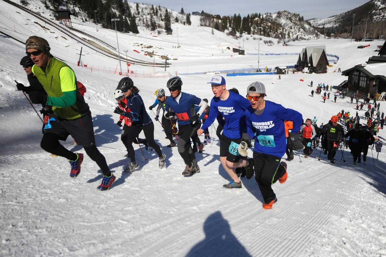 Racers compete in the Steamboat Pentathlon in March at Howelsen Hill.