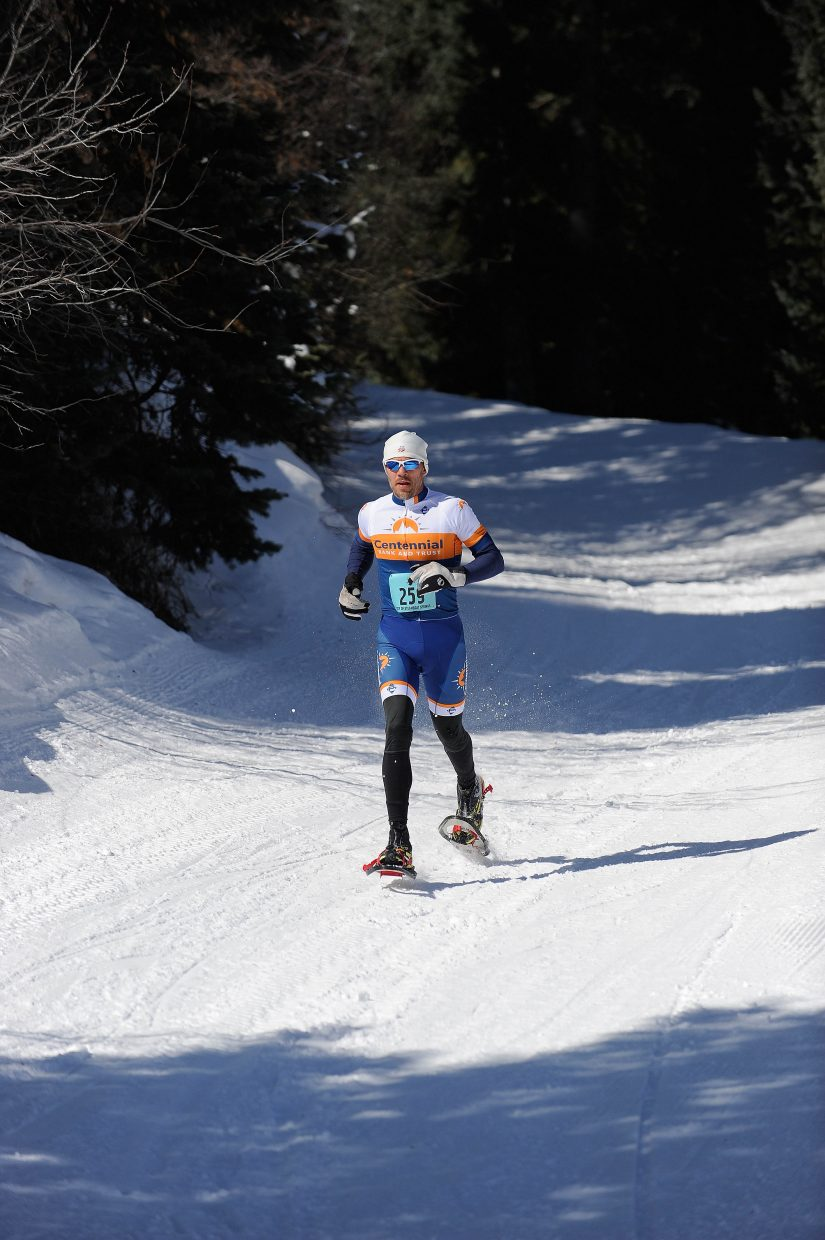 Jeff Minotto races down Howelsen Hill during Saturday's Steamboat Pentathlon.