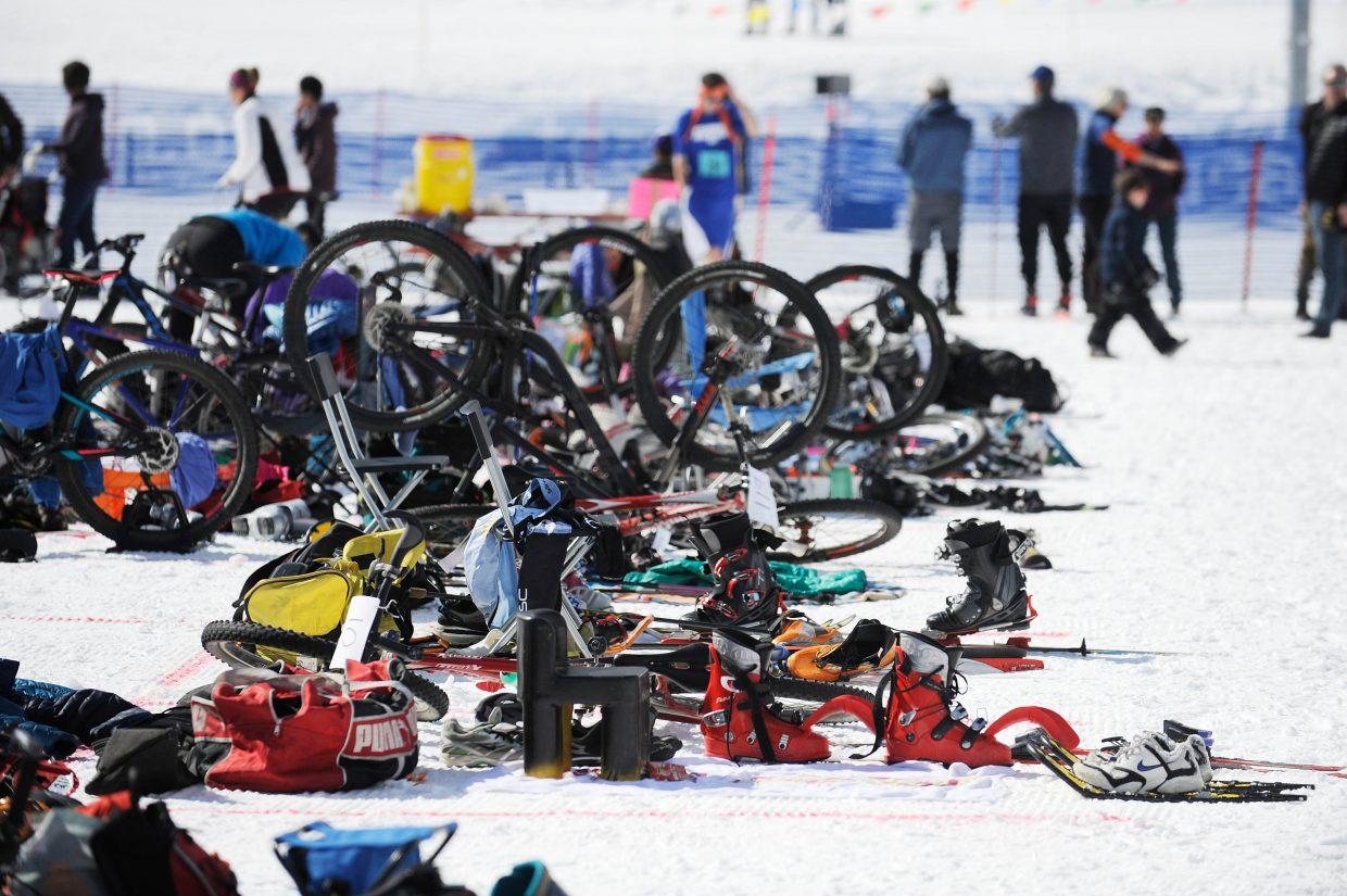 Gear is lined up in the staging area for the Steamboat Pentathlon.