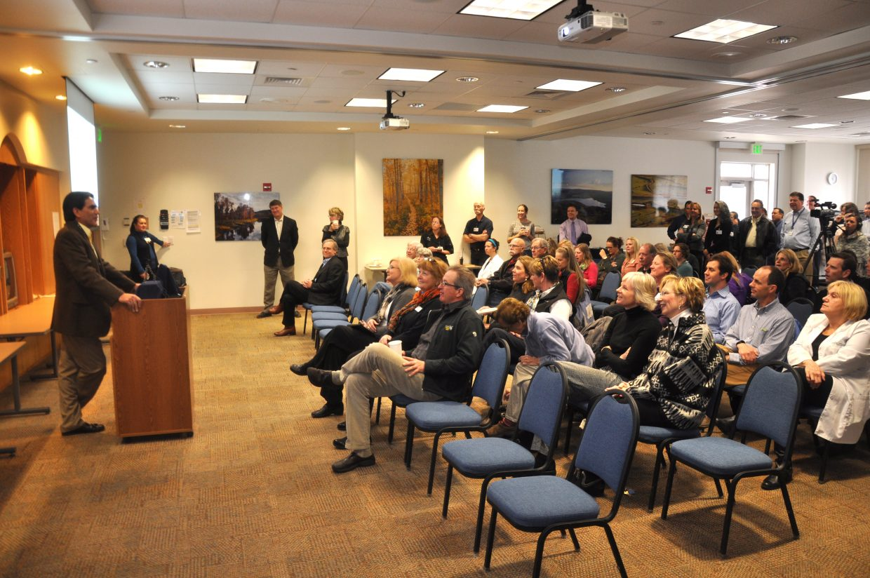 Yampa Valley Medical Center CEO Frank May announces a new partnership with the Mayo Clinic on Wednesday to a big crowd at the hospital. The partnership will give physicians at the hospital access to Mayo Clinic specialists for second opinions and other consultations.