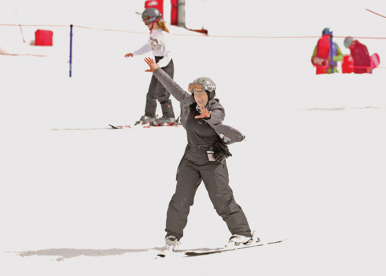 Tammy Banker, of Prairieville, La., was all smiles Wednesday afternoon as she took to the slopes at Steamboat Ski Area. It was Banker's first time skiing.
