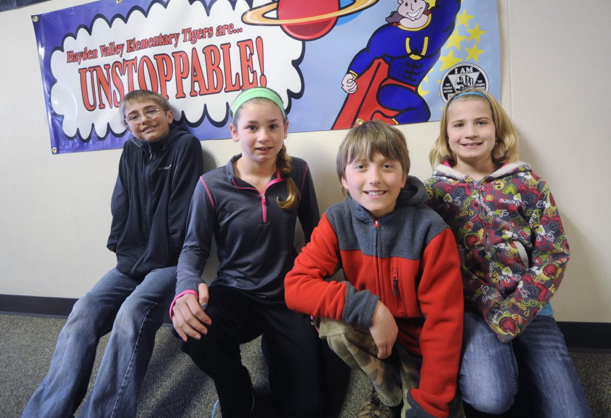 Hayden Elementary School student council officers, from left, Kyler Campbell, Gracie Day, Wyatt Mortenson and Whittney Lighthizer are leading an effort to raise $2,800 to buy a tiger statue they want placed at the secondary school campus.