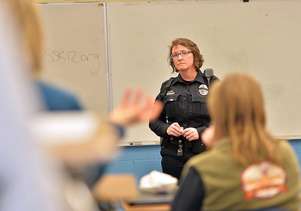 Steamboat Springs High School Resource Officer Kristin Bantle speaks to the parents during a March meeting.