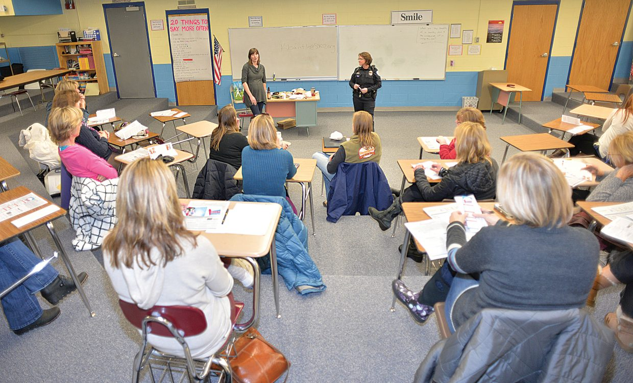 Steamboat Springs High School Resource Officer Kristin Bantle, and Kate Elkins from Grand Futures Prevention Coalition speak to the Parent Information Committee about marijuana during a recent meeting. She helped educate the parents about the new laws regarding marijuana and how it impacts students and the schools. She also reviewed the many different products offered by legal marijuana shops in Steamboat, and what parents need to learn about when it comes to dealing with their children and marijuana.