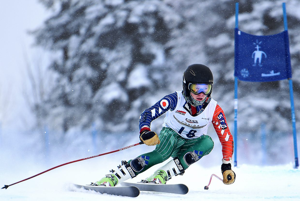 Steamboat Springs skier Sam Frackowiak flies down the Vagabond run at Steamboat Ski Area Wednesday during the super-G race of the U16 Rocky/Central Alpine Skiing Championships. He placed 24th in the event.
