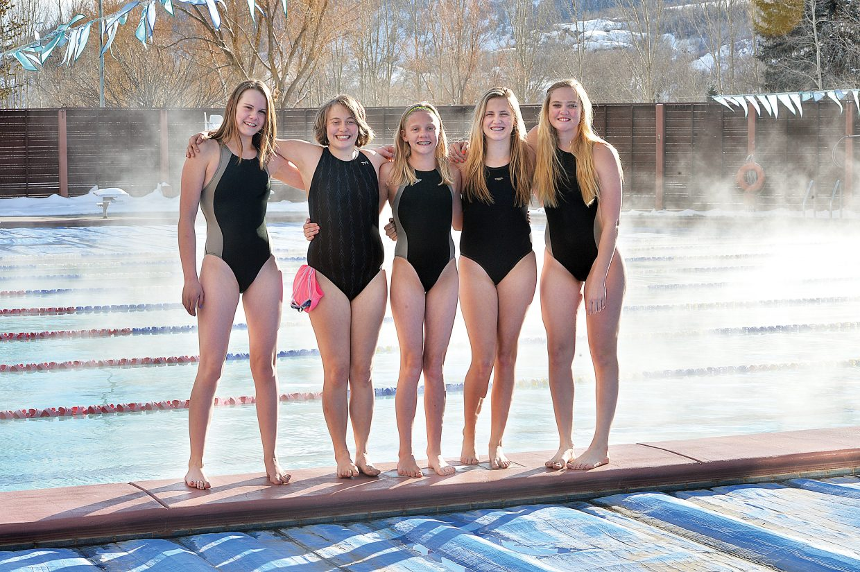 Steamboat Springs swimmers (from left) Annika Fahrner, Lily Starkey, Jenna Smith, Parker Kortas, Lily Starkey and Avery Harrington will travel to Thornton this weekend to compete in the CSI State Age Class Championships. It will be the biggest meet of the season for four of the five swimmers. Kortas will travel to the sectional meet in Iowa City.
