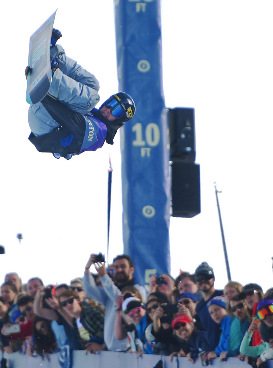 Steamboat Springs snowboarder Matt Ladley flies above the crowd at Saturday's U.S. Open snowboarding half-pipe finals. Ladley ended up fourth in the event.