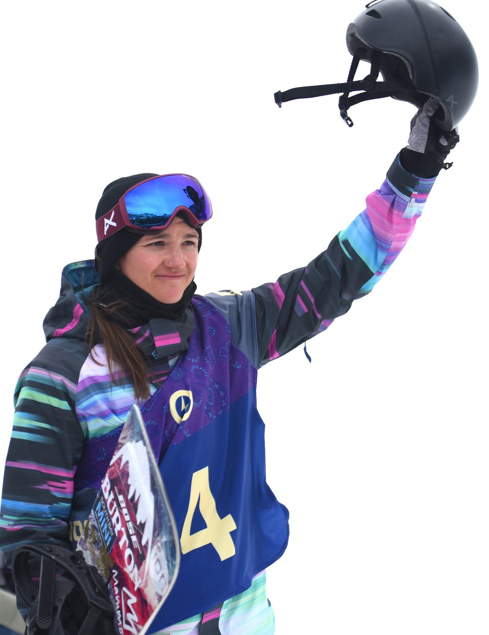 Kelly Clark salutes the crowd at the U.S. Open half-pipe finals on Saturday in Vail.