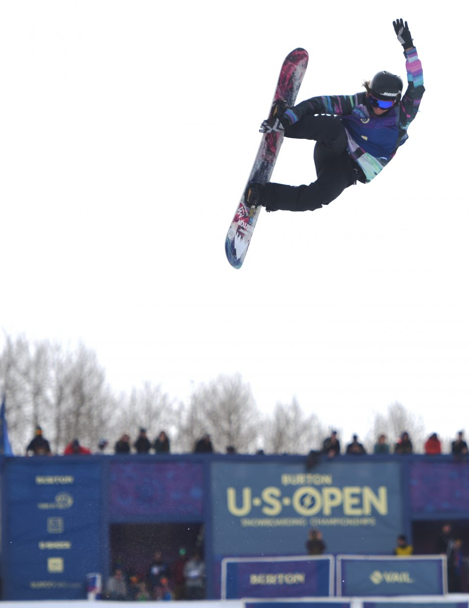Kelly Clark soars high above the half-pipe Saturday in Vail.