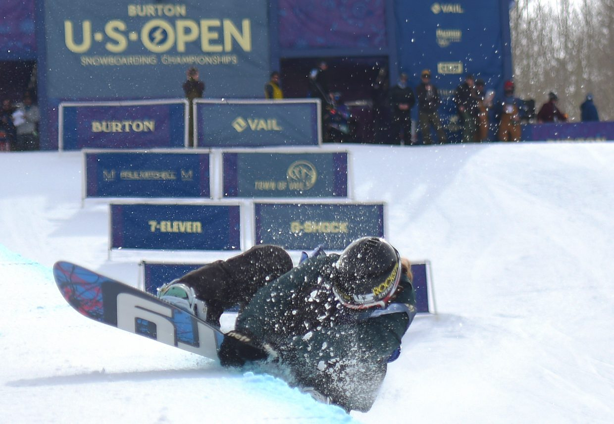 Arielle Gold hit the deck hard during her second run at the U.S. Open half-pipe competition in Vail. She said she struggled with the timing on that particular trick, a 900 spin, all week. Despite the hard hit, she came away feeling ok.