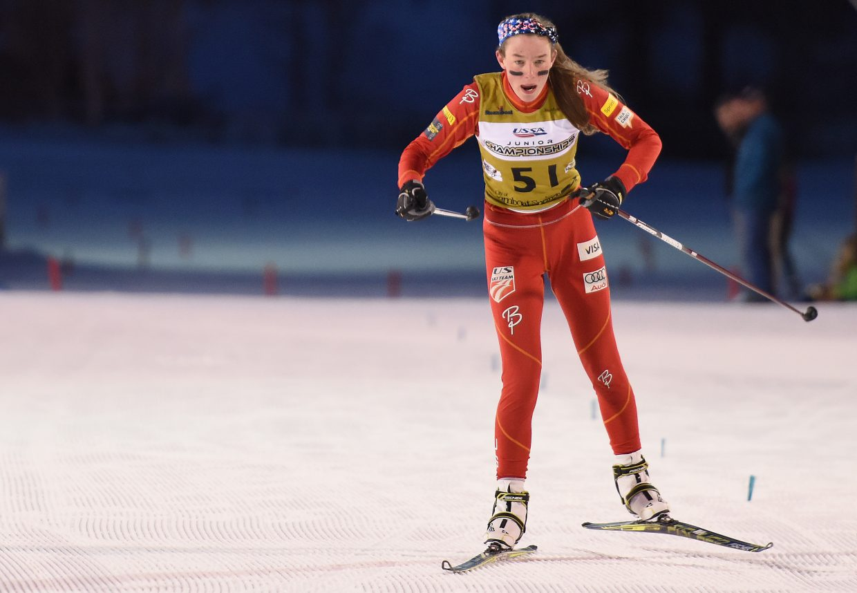 Esther DelliQuadri races to the finish line in first place on Friday during the team sprint Nordic combined event.