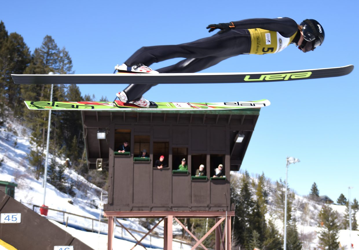 Ben Loomis soars over the Howelsen Hill judges' stand Friday during Friday's Junior National Championships for Nordic combined and special jumping in Steamboat Springs.