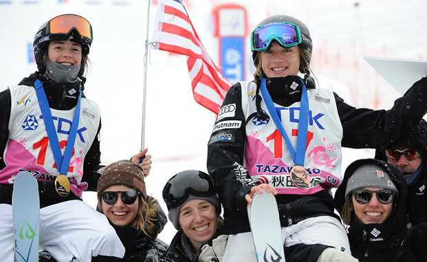 Jaelin Kauf, left, and Olivia Giaccio celebrate their podium finishes at a World Cup last month in Japan. Kauf won the event and Giaccio was second. The women, who both trained with Steamboat Springs Winter Sports Club, will compete this week at the Freestyle World Ski Championships in Sierra Nevada, Spain.