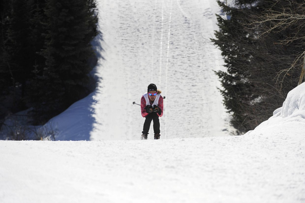 Heather Gollnick keeps her speed on the skate-ski course during the 23rd annual Steamboat Pentathlon on Saturday at Howelsen Hill.