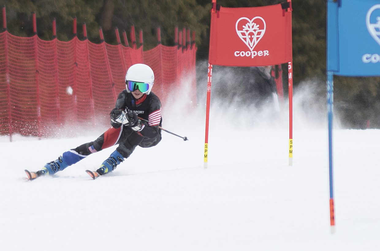 Caroline Gilchrist races last weekend in an event at Ski Cooper. After competing in a series of super-G, slalom and giant slalom races, she placed high enough in the overall weekend standings to advance to the U14 Regional Championships, which will take place in Steamboat Springs.