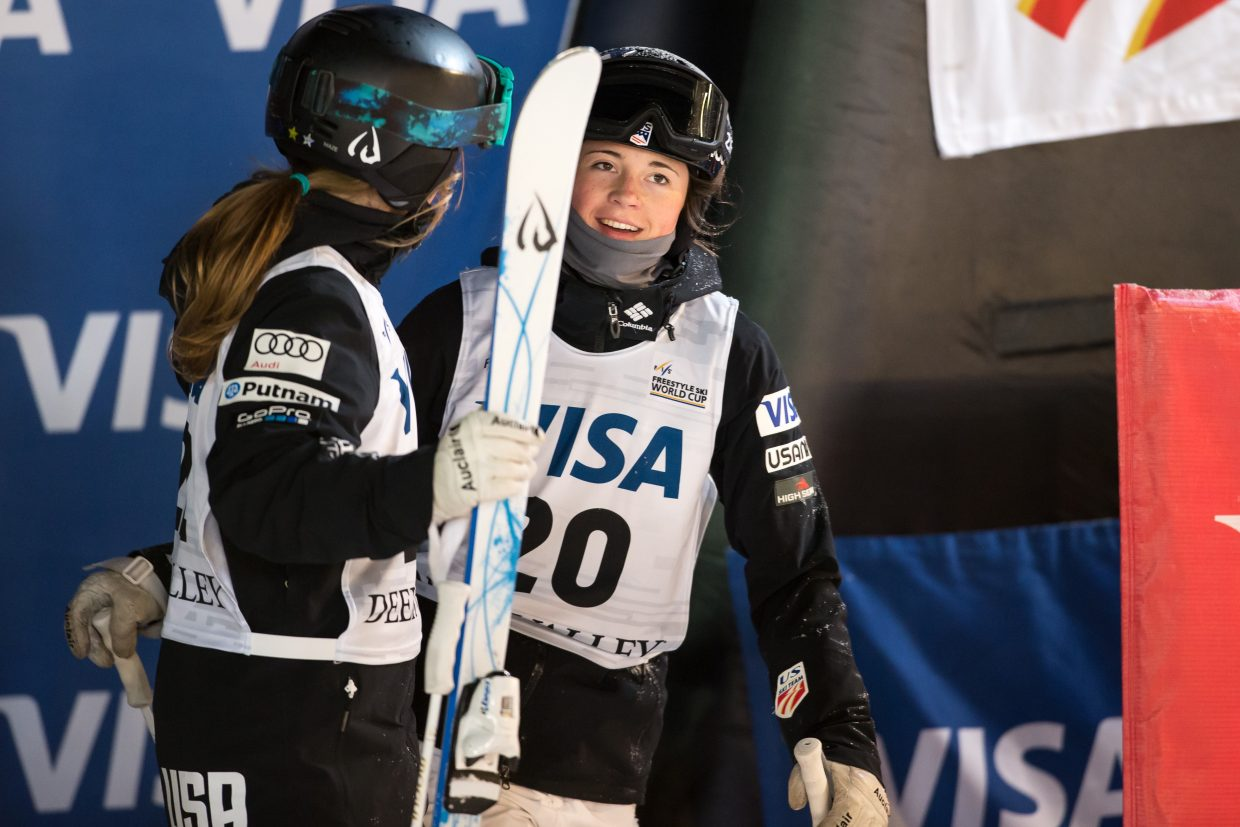 Steamboat Springs moguls skier Jaelin Kauf, pictured here at a World Cup event in Utah earlier this season, won a bronze medal in dual moguls at the World Championships on Thursday in Sierra Nevada, Spain.