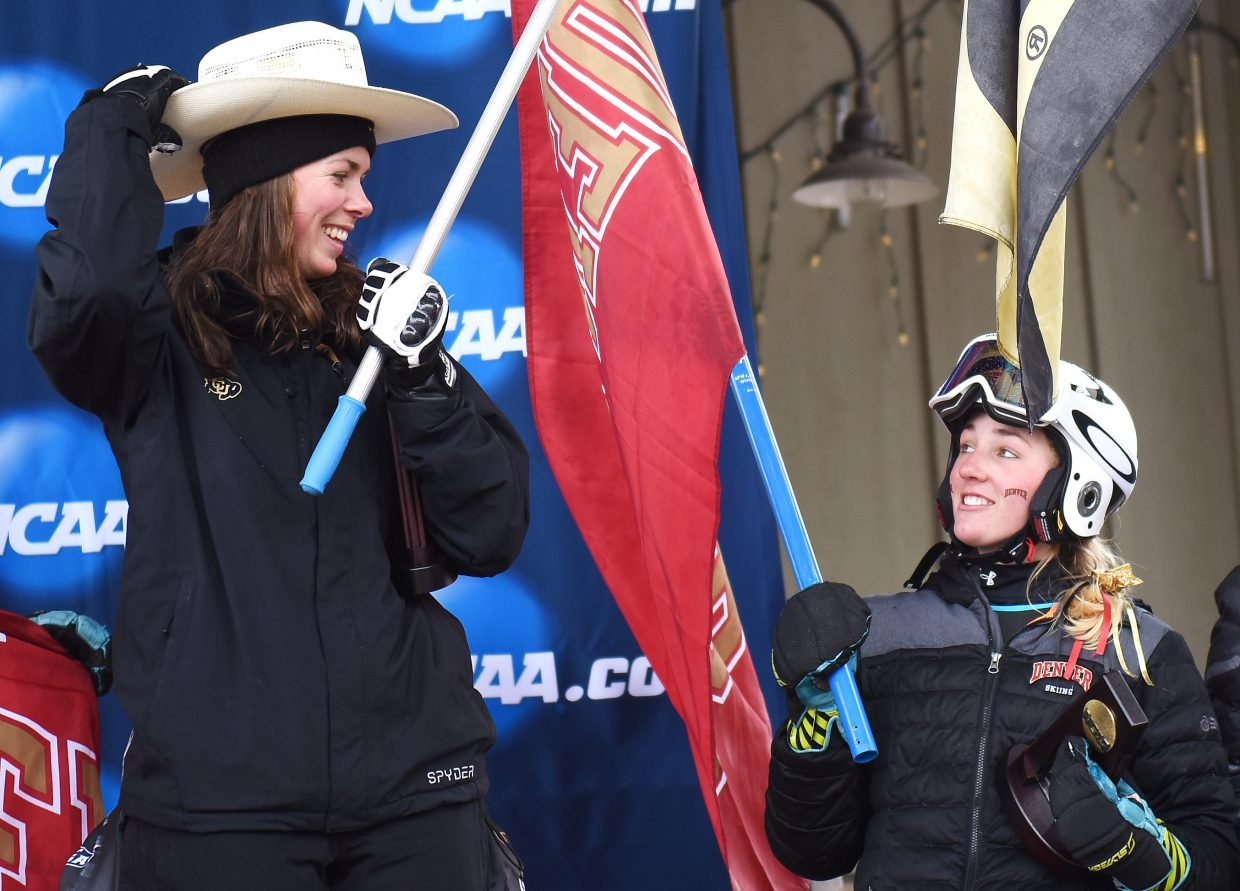 University of Colorado skier Tonje Trulsrud adjusts her cowboy hat after finishing third in the women's GS at the NCAA skiing championships Wednesday in Steamboat Springs.