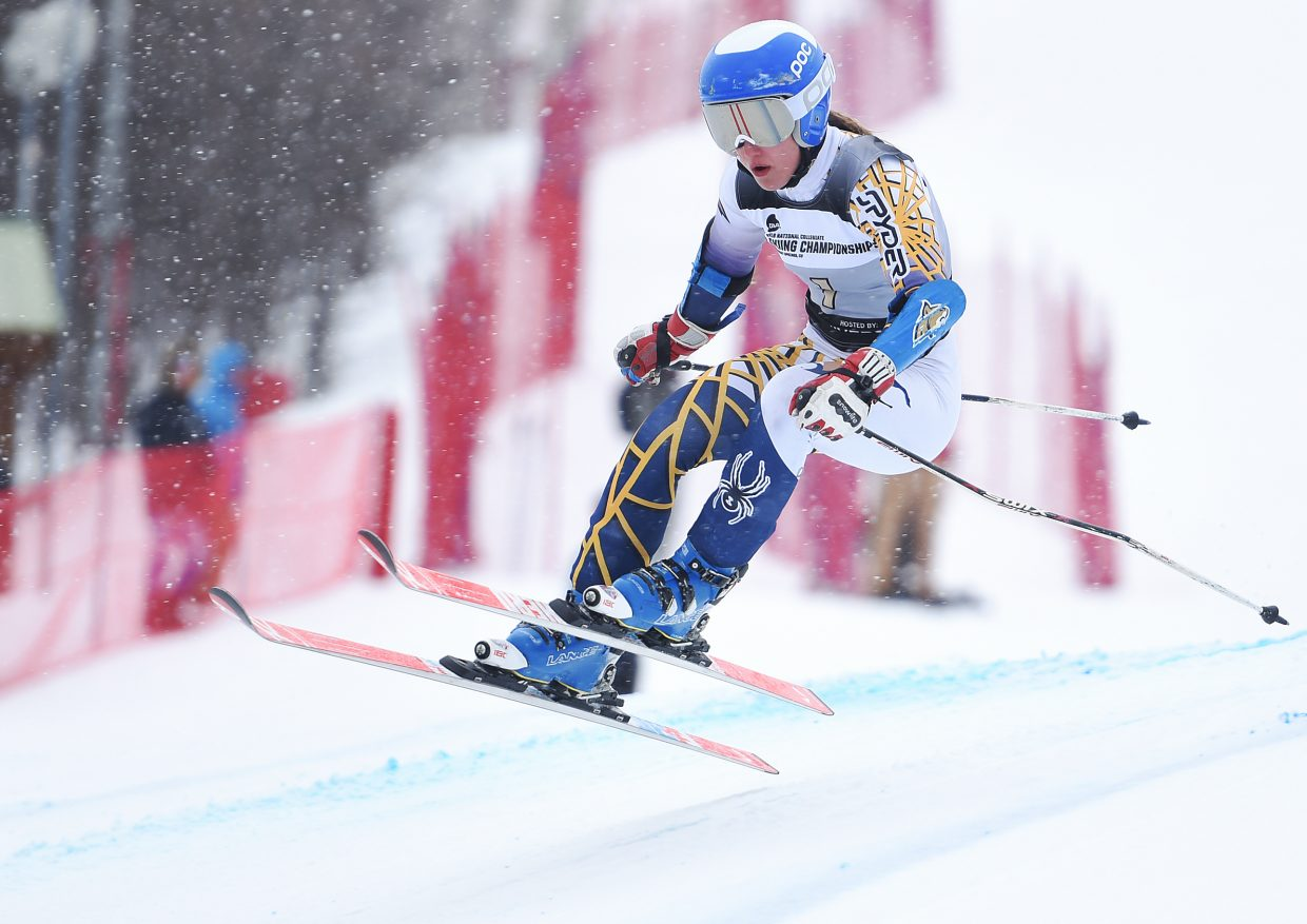 Montana State skier Benedicte Lyche flies down the course Wednesday during the women's giant slalom race at the NCAA skiing championships in Steamboat Springs. She finished second and her Bobcats are in first place as a team.