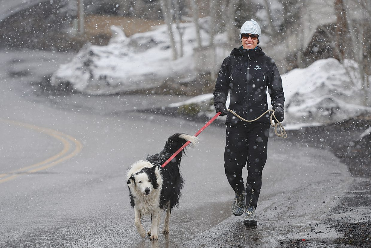 Snow fell from the sky as Steamboat Springs resident Michele Meyer walked her dog along 12th Street in downtown Steamboat Wednesday afternoon.