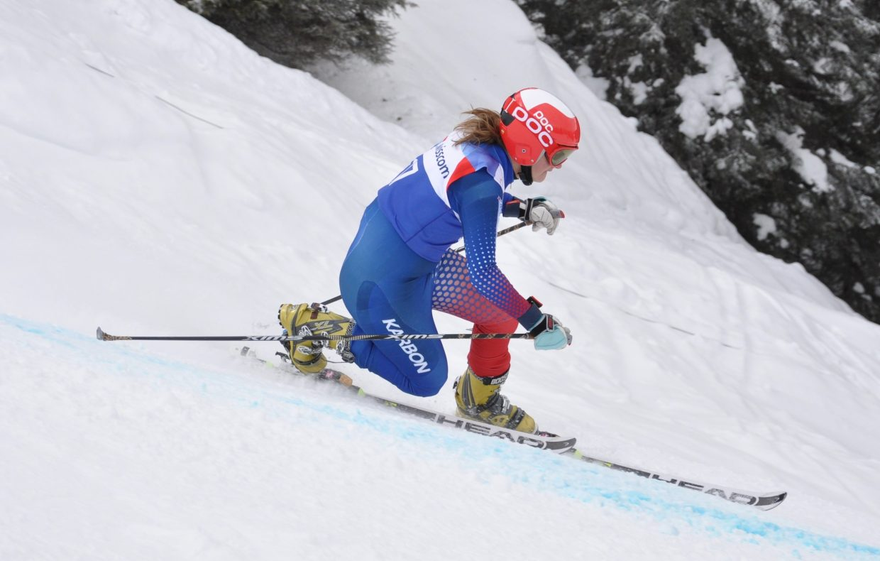 Lyta Foulk skis in a Telemark race this season. Foulk won the national championship in the sport for the second consecutive year.