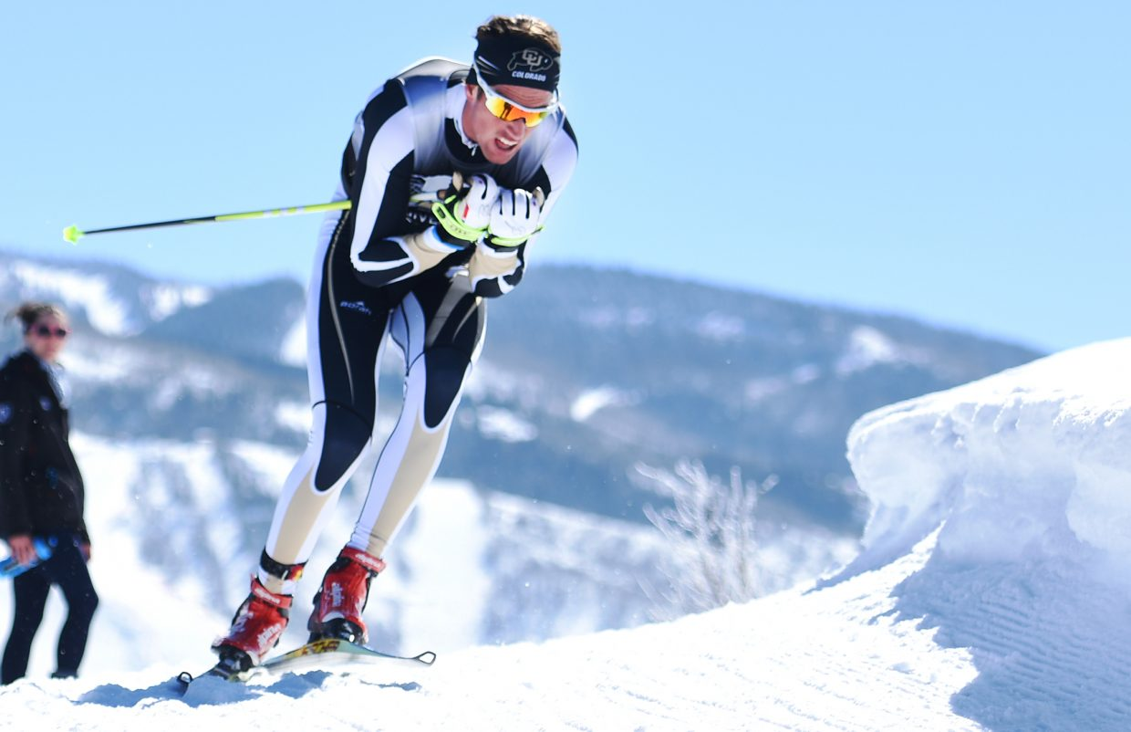Colorado's Mads Stroem heads down the course Thursday during the NCAA Skiing Championships in Steamboat Springs. He went on to win the men's race.