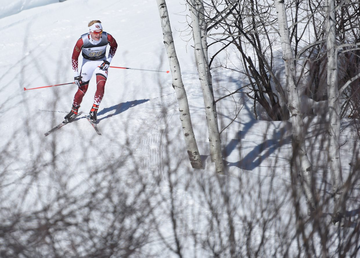 Lars Hannah, a Steamboat Springs skier racing for University of Denver, makes his way down the course Thursday during the men's 10-kilometer skate skiing event as a part of the NCAA Skiing Championships. He placed eighth.