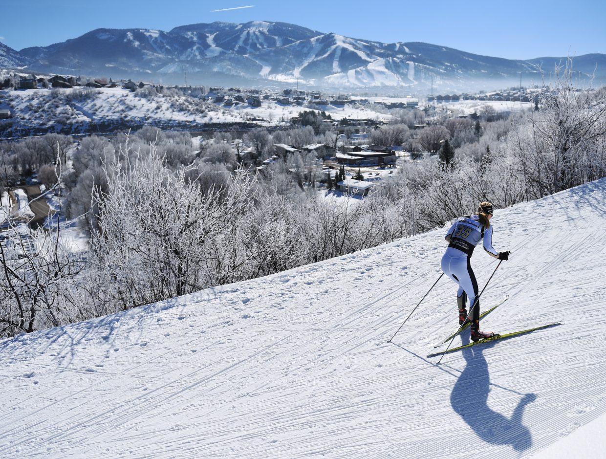 Colorado's Jesse Knori skis Thursday in the Nordic skiing women's 5K at the NCAA Skiing Championships in Steamboat Springs. She placed 32nd.