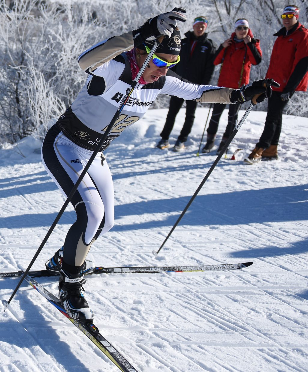 Colorado's Petra Hyncicova fights her way up a hill Thursday during the women's 5K Nordic freestyle skiing race at the NCAA Skiing Championships in Steamboat Springs. She placed second.