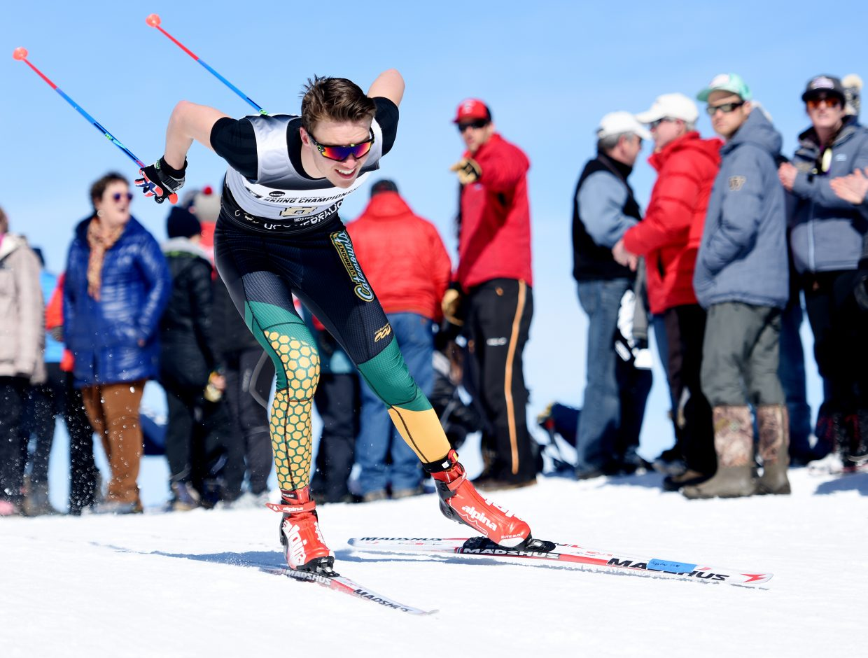 Vermont skier Jack Hegman flies down the course during Thursday's NCAA Skiing Championships 10K Nordic race in Steamboat Springs.
