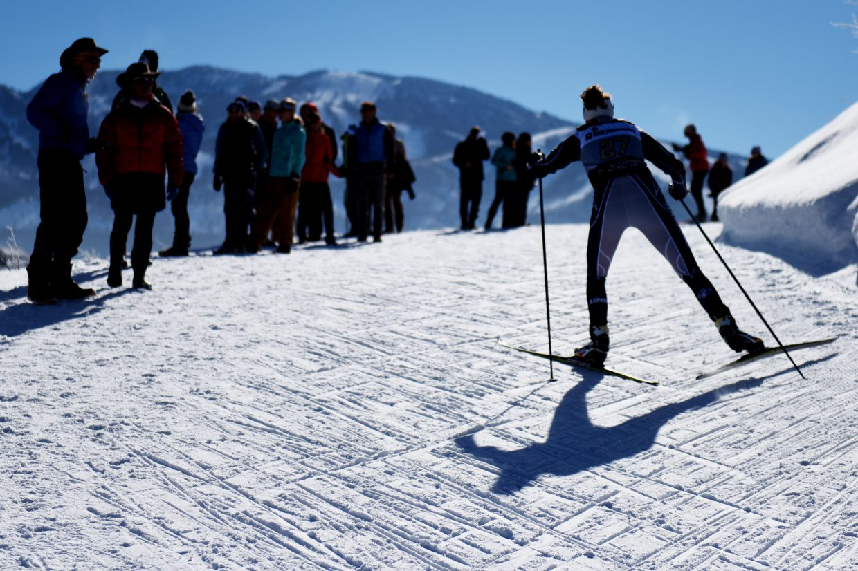 A skier makes her way up Emerald Mountain on Thursday during the NCAA Skiing Championships in Steamboat Springs.