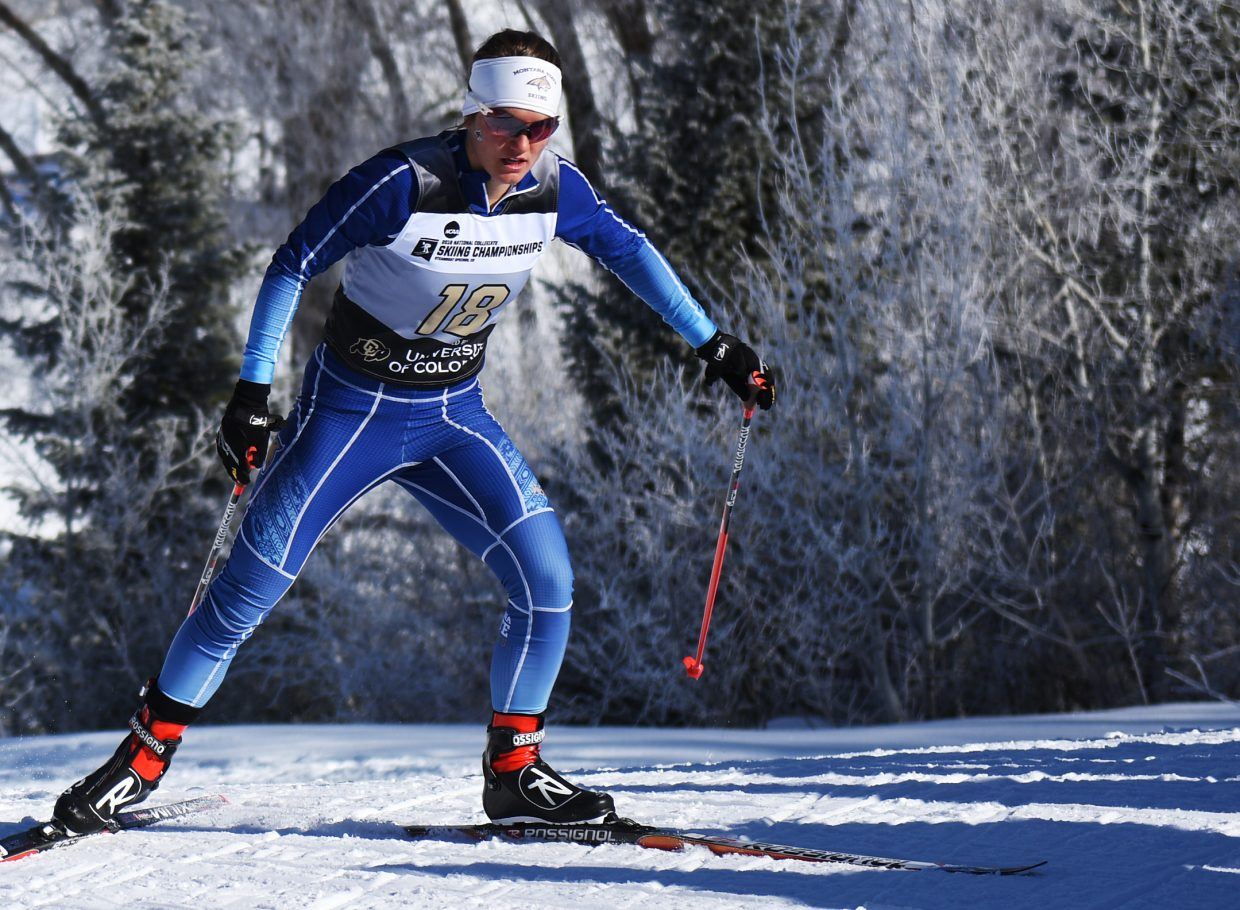 Montana State's Anika Miller charges up a hill Thursday in Steamboat Springs during the women's 5-kilometer Nordic freestyle skiing race at the NCAA Skiing Championships. She went on to emerge as an unexpected winner of the race, helping solidify her team's unexpected grip on the overall team lead midway through the four-day championships.
