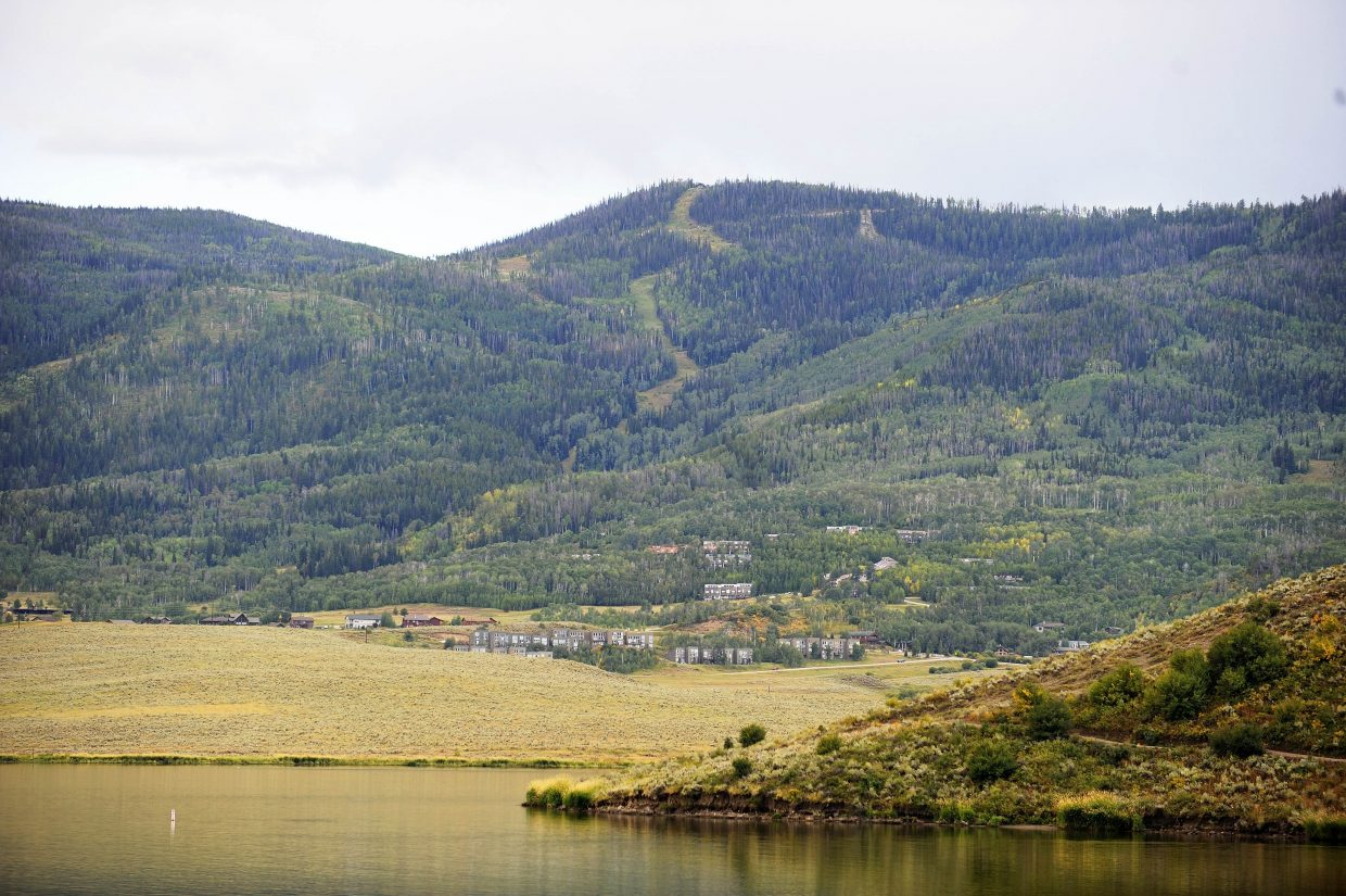 The trails of the old Stagecoach Ski Area stand out from the forest in this September 2016 photo, taken from the north side of Stagecoach Reservoir. The sale of the ski area to new developers has been pending since October 2016, and the principles say they are bound by a sale contract not to publicly discuss their plans.