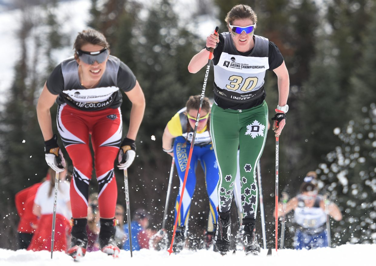 Dartmouth and Steamboat Springs skier Mary O'Connell makes her way down the course Saturday at the NCAA Skiing Championships in Steamboat Springs.