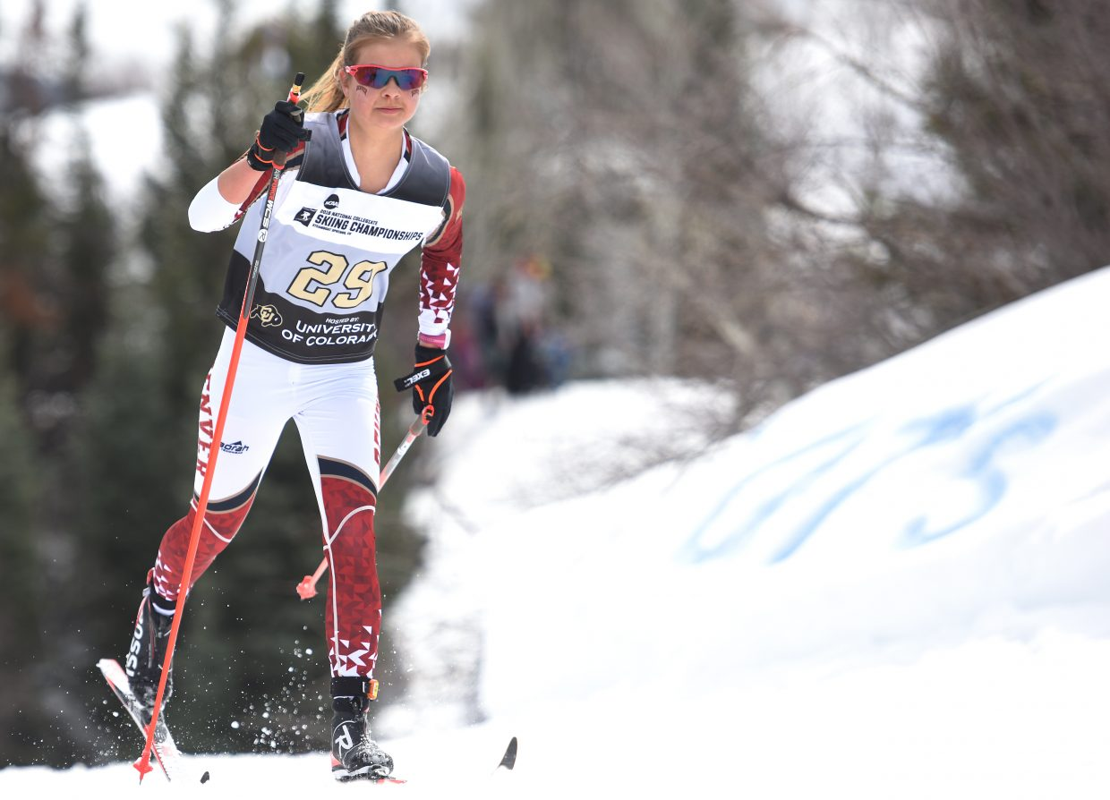 DU's Aja Starkey strides down the course Saturday at the NCAA Skiing Championships in Steamboat Springs. She finished sixth.