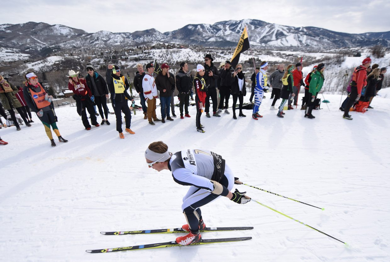 Colorado's Petter Reistad skis during the classic Nordic skiing race at the NCAA Skiing Championships in Steamboat Springs.