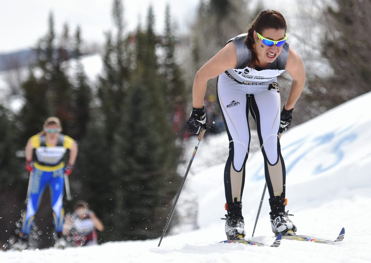 Colorado's Petra Hyncicova fights down the course during the women's 15K classic skiing Nordic event at the NCAA Skiing Championships in Steamboat Springs.