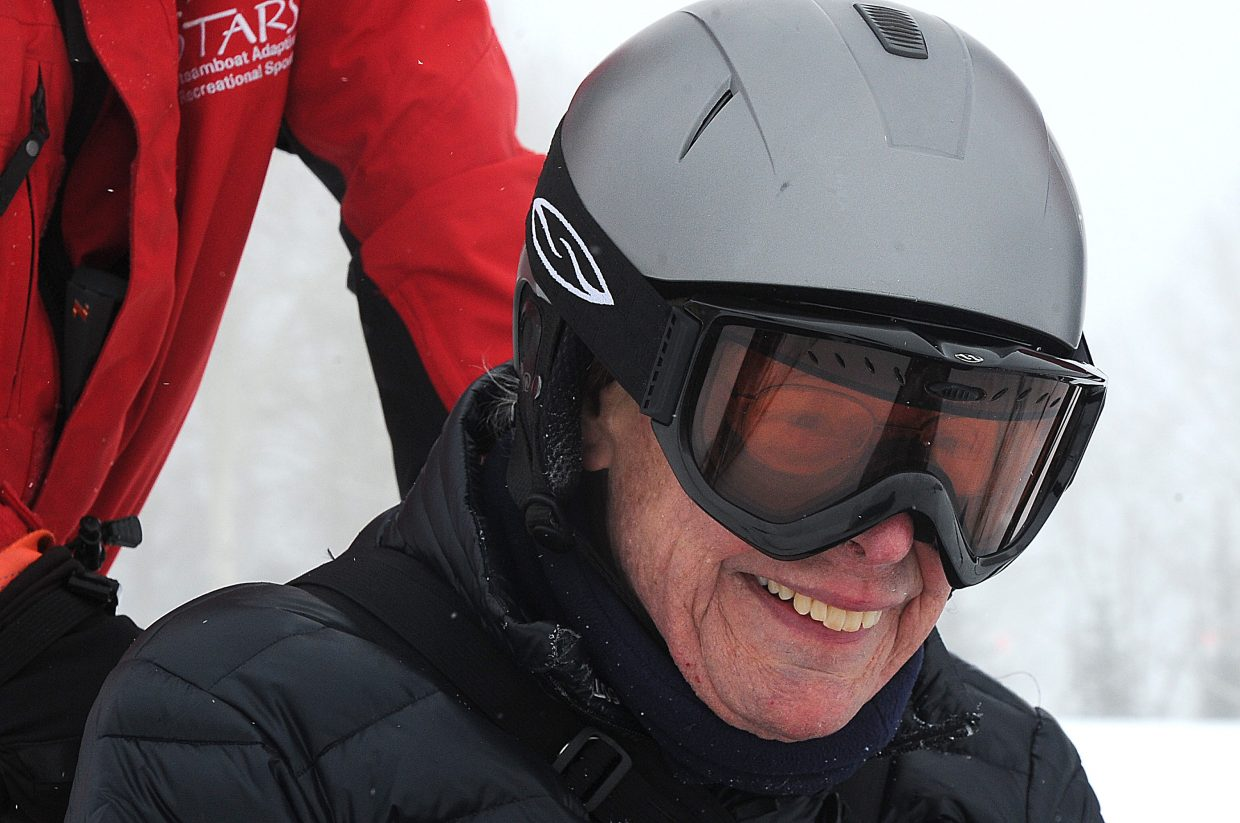 Jim Cartwright was all smiles as he prepared to go skiing Monday at the Steamboat Ski Area. Prior to skiing here, Cartwright, who uses a wheelchair, said he tried skiing in an adaptive program in Santa Fe in the mid 1990s and again in the mid 2000s in a similar program in Winter Park.