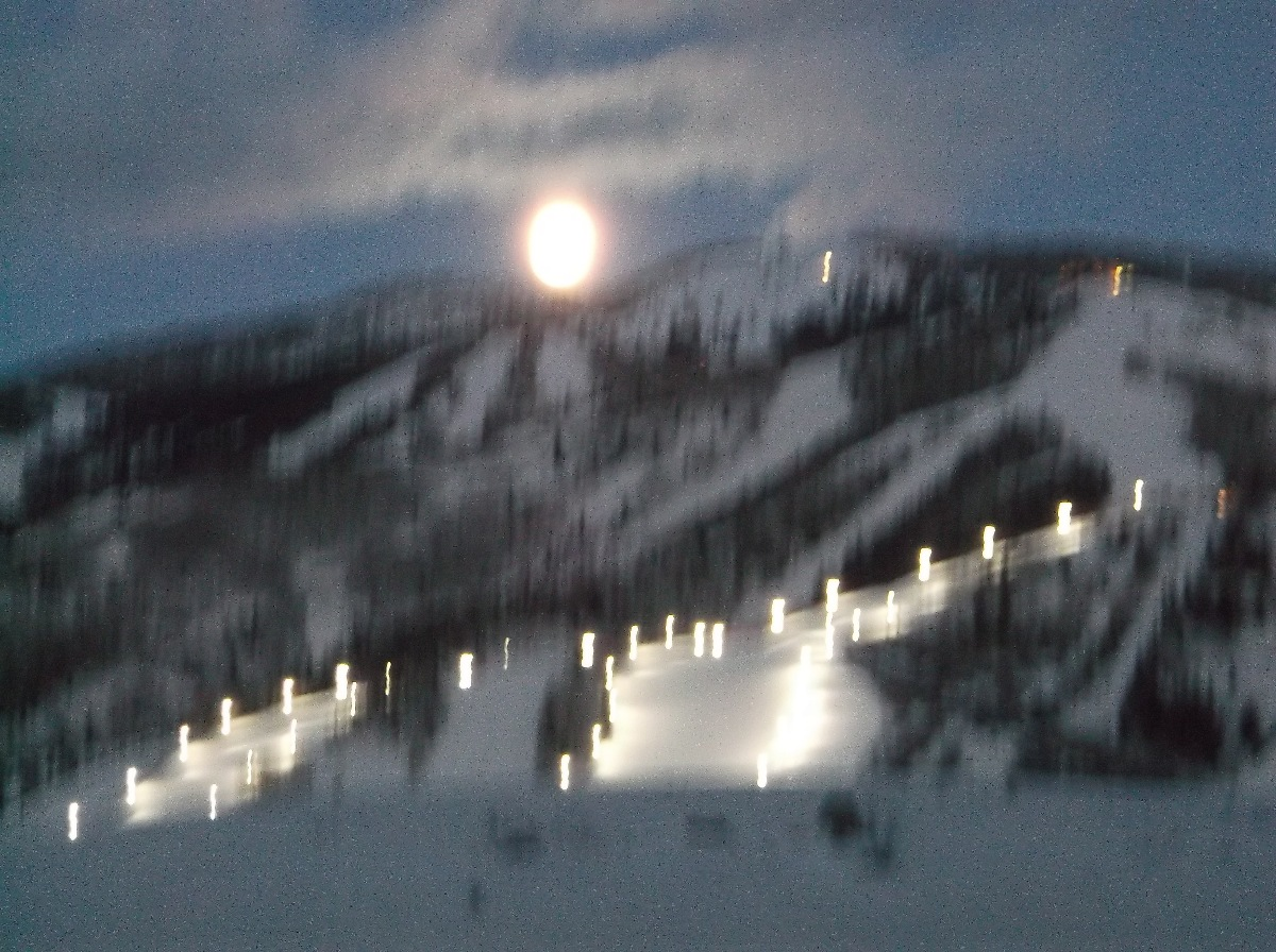 Moon over Storm Peak on Saturday. Submitted by: Rhys Jones