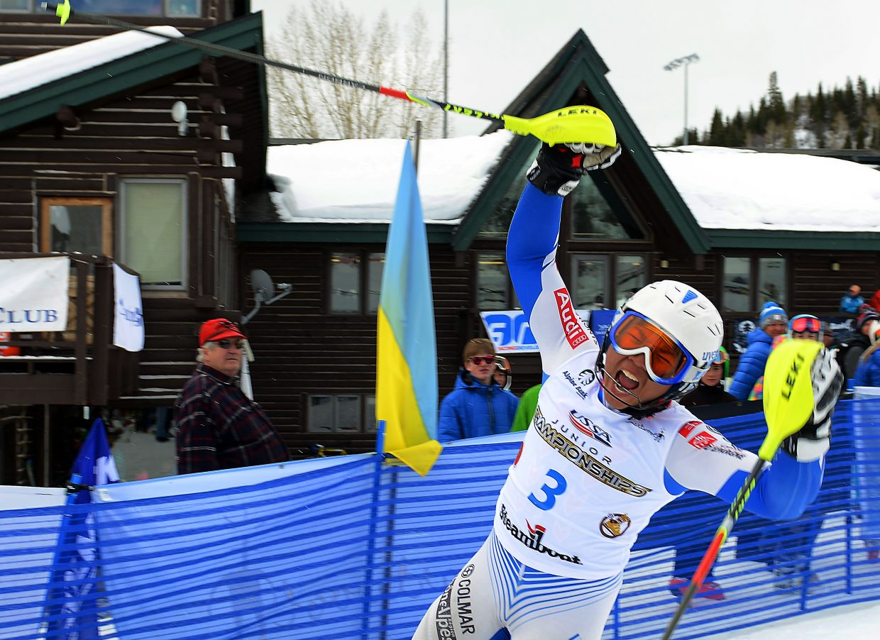 Louis Nguyen celebrates after winning the boys slalom race Saturday at the Rocky/Central U16 Regional Championships at Howelsen Hill in Steamboat Springs. Nguyen and the two racers who joined him on the boys podium all hail from Buck Hill, a small Minnesota ski resort.