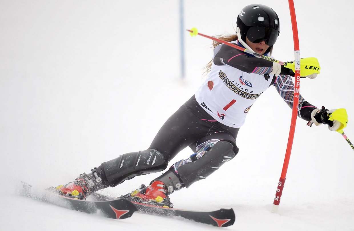 Storm Klomhaus races Saturday in slalom at Howelsen Hill. She capped a perfect week by winning the event, adding it to her downhill, super-G and giant slalom wins.