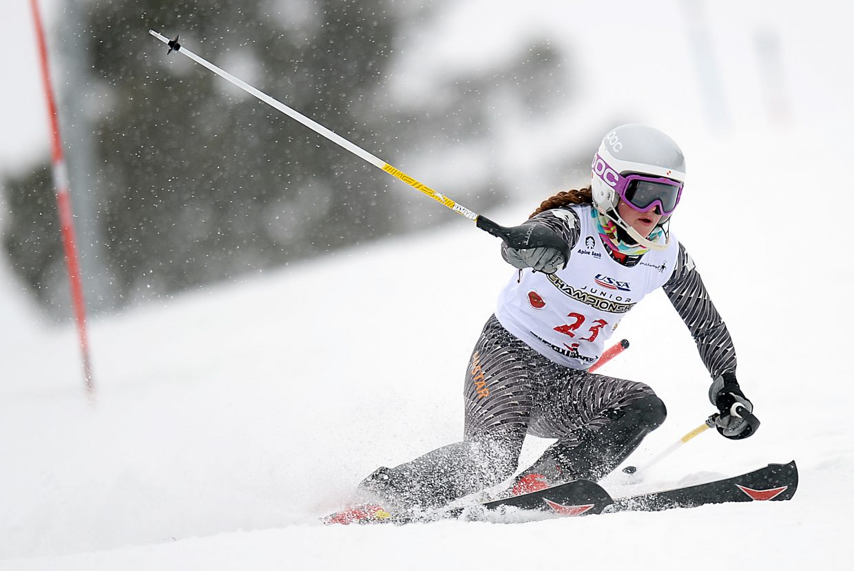 Steamboat's Logan Sankey skis down as the snow falls Saturday during a slalom race at Howelsen Hill. She finished 10th in the event.