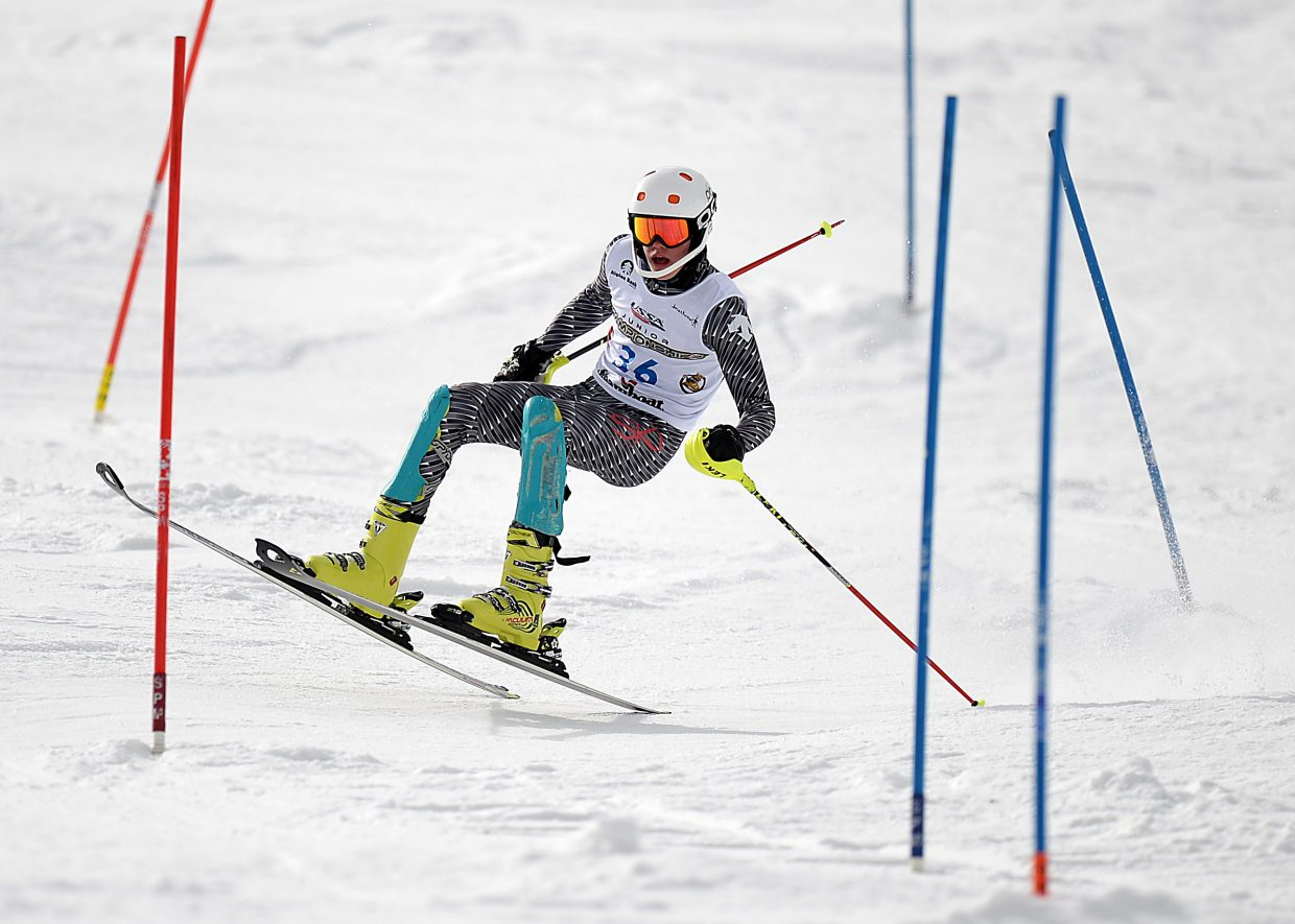 Steamboat's Andrew McCawley gets bucked as he tries to make a cut during a slalom race at Howelsen Hill on Saturday. He lost it for a moment, but did manage to recover and record the fastest time for a Steamboat skier, finishing 12th.