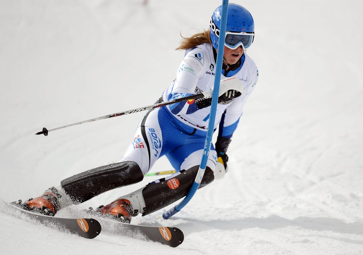 River Radamus skis Saturday in a slalom event in Steamboat Springs. Though he struggled a bit in the slalom, Radamus won twice in the four-race week to win the overall boys championship.