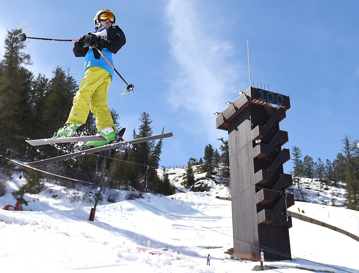 Winter Park skier Eli Gottesfeld spins high Saturday at Howelsen Hill.